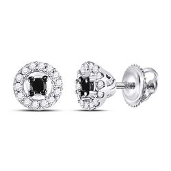1/5 CTW Round Black Color Enhanced Diamond Cluster Earrings 10kt White Gold - REF-11F9M