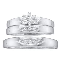 1/12 CTW His & Hers Round Diamond Cluster Matching Bridal Wedding Ring 10kt White Gold - REF-18A3N