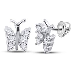 1/3 CTW Round Diamond Butterfly Bug Earrings 14kt White Gold - REF-26W3F