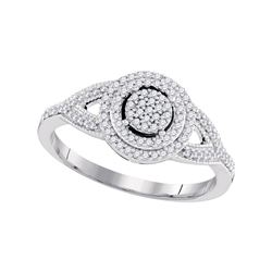 1/4 CTW Round Diamond Circle Cluster Bridal Wedding Engagement Ring 10kt White Gold - REF-20H3W