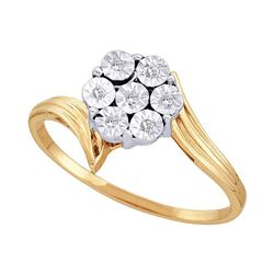 1/20 CTW Round Diamond Miracle Flower Cluster Ring 10kt Yellow Gold - REF-9Y6X