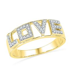 1/6 CTW Round Diamond Love Ring 10kt Yellow Gold - REF-15Y5X