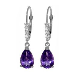 Genuine 3.15 ctw Amethyst & Diamond Earrings 14KT White Gold - REF-44T3A