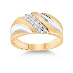 1/8 CTW Mens Round Diamond Wedding Ring 14kt Yellow Gold - REF-24T3K