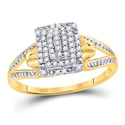 1/6 CTW Round Diamond Cluster Ring 10kt Yellow Gold - REF-16H2W