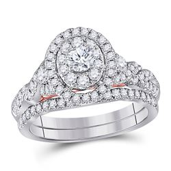 1 CTW Round Diamond Bridal Wedding Engagement Ring 14kt Two-tone Gold - REF-107R9H