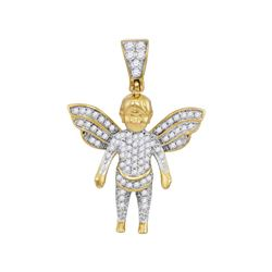 1/3 CTW Mens Round Diamond Guardian Angel Charm Pendant 10kt Yellow Gold - REF-22F8M