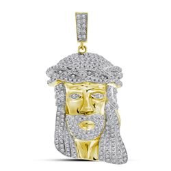 1 & 1/4 CTW Mens Round Diamond Jesus Face Charm Pendant 10kt Yellow Gold - REF-71H9W
