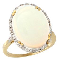10.35 CTW Opal & Diamond Ring 10K Yellow Gold - REF-94H3M