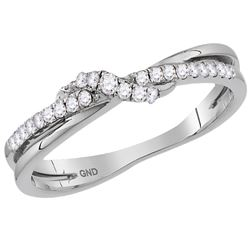 1/6 CTW Round Diamond Crossover Stackable Ring 14kt White Gold - REF-21K5R