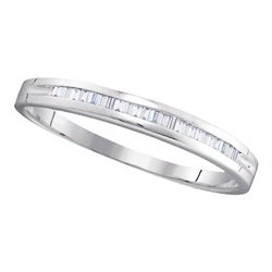 1/6 CTW Baguette Diamond Wedding Anniversary Ring 10kt White Gold - REF-8W4F