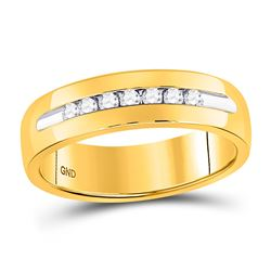 1/4 CTW Mens Machine Set Round Diamond Wedding Channel Ring 14kt Yellow Gold - REF-57A3N