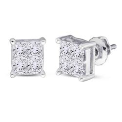 1 CTW Princess Diamond Square Cluster Stud Earrings 14kt White Gold - REF-86R9H