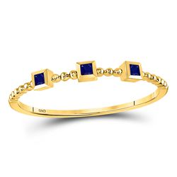 1/20 CTW Princess Blue Sapphire 3-Stone Beaded Stackable Ring 10kt Yellow Gold - REF-5N9Y
