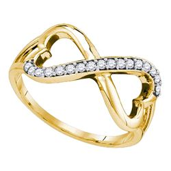 1/6 CTW Round Diamond Infinity Double Heart Ring 10kt Yellow Gold - REF-18T3K