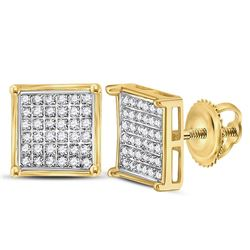 1/4 CTW Round Diamond Square Cluster Earrings 10kt Yellow Gold - REF-11W9F
