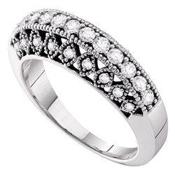 1/2 CTW Round Diamond Single Row Milgrain Ring 14kt White Gold - REF-60N3Y
