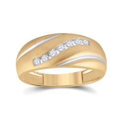 1/4 CTW Mens Round Diamond Single Row Ring 10kt Yellow Gold - REF-19T2K