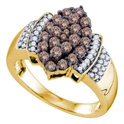 1 CTW Round Brown Diamond Cluster Ring 10kt Yellow Gold - REF-54H3W