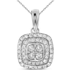 1/3 CTW Round Diamond Square Cluster Pendant 14kt White Gold - REF-30Y3X