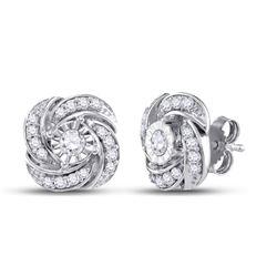 1/3 CTW Round Diamond Pinwheel Fashion Earrings 10kt White Gold - REF-30W3F