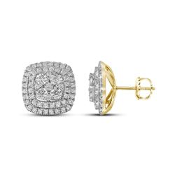 1 & 1/2 CTW Round Diamond Double Square Frame Cluster Earrings 14kt Yellow Gold - REF-113A9N