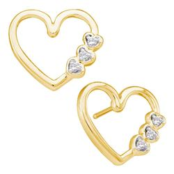 1/20 CTW Round Diamond Heart Earrings 10kt Yellow Gold - REF-11Y9X