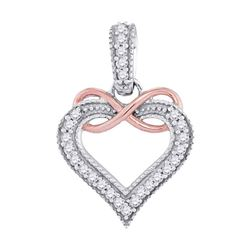 1/10 CTW Round Diamond Heart Infinity Pendant 10kt Two-tone Gold - REF-9X3T