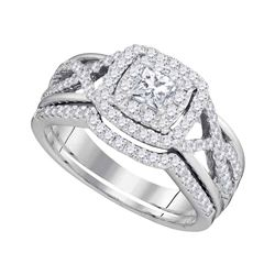 7/8 CTW Princess Diamond Bridal Wedding Engagement Ring 14kt White Gold - REF-95A9N