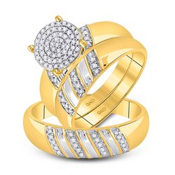 1/3 CTW His & Hers Round Diamond Cluster Matching Bridal Wedding Ring 10kt Yellow Gold - REF-35W9F