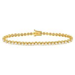 4 CTW Round Diamond Classic Tennis Bracelet 14kt Yellow Gold - REF-234K3R