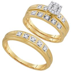 1/4 CTW His & Hers Round Diamond Solitaire Matching Bridal Wedding Ring 10kt Yellow Gold - REF-32M3A