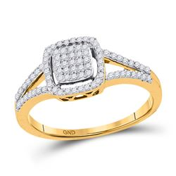 1/4 CTW Round Diamond Square Cluster Split-shank Ring 10kt Yellow Gold - REF-18M3A