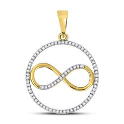 1/3 CTW Round Diamond Circle Infinity Pendant 10kt Yellow Gold - REF-18F3M