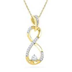 1/5 CTW Round Diamond Vertical Infinity Pendant 10kt Yellow Gold - REF-20X3T