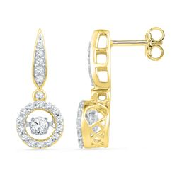 5/8 CTW Round Diamond Moving Twinkle Dangle Earrings 10kt Yellow Gold - REF-51F5M