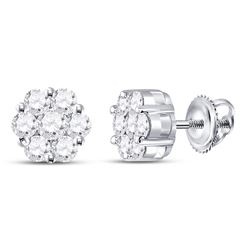 1 CTW Round Diamond Flower Cluster Earrings 14kt White Gold - REF-63W5F