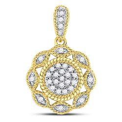 1/10 CTW Round Diamond Milgrain Rope Cluster Pendant 10kt Yellow Gold - REF-8H4W