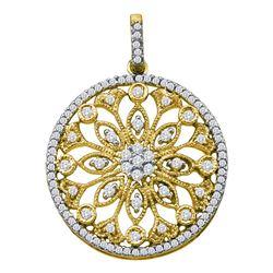 1/2 CTW Round Diamond Antique-style Circle Pendant 10kt Yellow Gold - REF-33K3R