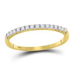 1/6 CTW Round Diamond Wedding Single Row Ring 14kt Yellow Gold - REF-18F3M