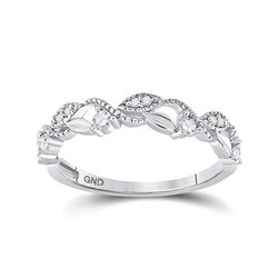 1/6 CTW Round Diamond Vine Stackable Ring 10kt White Gold - REF-15R5H