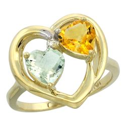 2.61 CTW Diamond, Amethyst & Citrine Ring 14K Yellow Gold - REF-33K9W