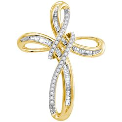 1/5 CTW Round Diamond Cross Pendant 10kt Yellow Gold - REF-14N4Y