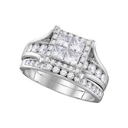 1 & 1/2 CTW Princess Diamond Bridal Wedding Engagement Ring 14kt White Gold - REF-137H9W