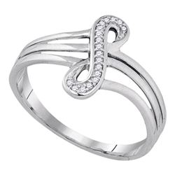 1/20 CTW Round Diamond Vertical Infinity Strand Ring 10kt White Gold - REF-11R9H