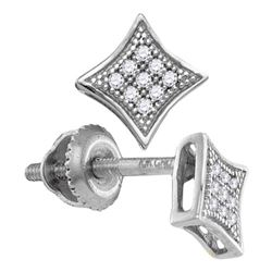 1/20 CTW Round Diamond Square Kite Cluster Screwback Earrings 10kt White Gold - REF-5F9M