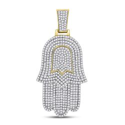 1 & 1/2 CTW Mens Round Diamond Hamsa Charm Pendant 10kt Yellow Gold - REF-77N9Y