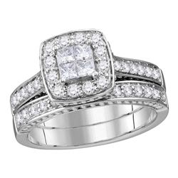 1 CTW Princess Diamond Bridal Wedding Engagement Ring 14kt White Gold - REF-90F3M