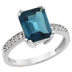 3.70 CTW London Blue Topaz & Diamond Ring 14K White Gold - REF-41H2M