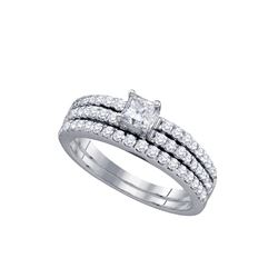 1 CTW Princess Diamond Bridal Wedding Engagement Ring 14kt White Gold - REF-101W9F